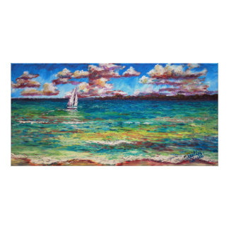 A Boat On The Jamaican Sea Poster
