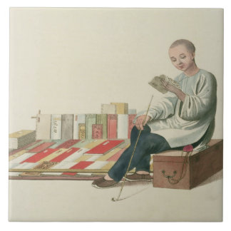 A Bookseller, plate 6 from 'The Costume of China', Tile