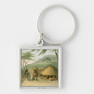 A Boosh-Wannah Hut, plate 7 from 'African Scenery Silver-Colored Square Keychain