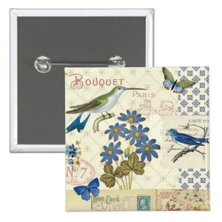 A Bouquet of Blue Flowers, Birds and Butterflies 2 Inch Square Button