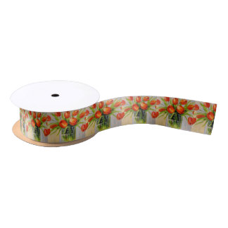 A bouquet of tulips satin ribbon