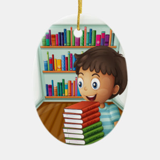 A boy carrying a pile of books ceramic oval ornament