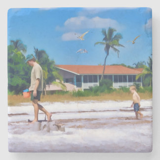 A Boy Following In His Father's Steps Stone Beverage Coaster