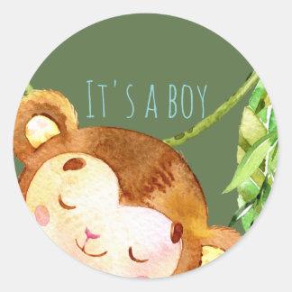 A Boy Monkey Arrival -Jungle Green Classic Round Sticker