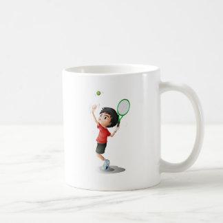 A boy playing tennis coffee mug