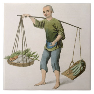 A Boy with Vegetables, plate 54 from 'The Costumes Ceramic Tiles