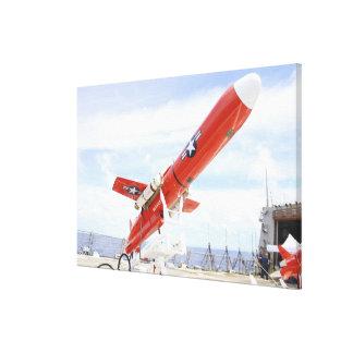 A BQM-74E Chukar drone ready for launch Stretched Canvas Print