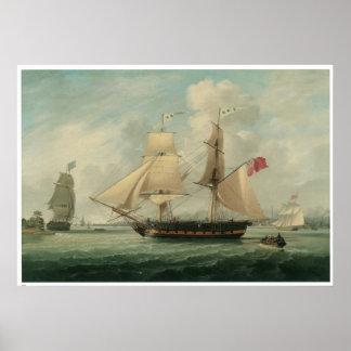 A Brig entering Liverpool: 19th Century Poster