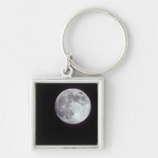 A bright full moon in a black night sky. keychain