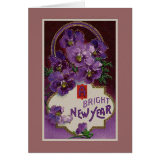 A Bright New Year Purple Pansy Flower Card