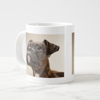 A Brindle Boxer puppy looking up curiously. Large Coffee Mug