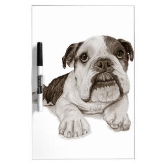 A Brindle Bulldog Puppy Dry Erase Board