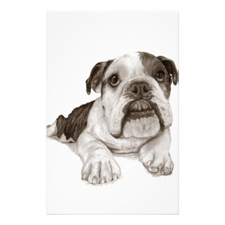 A Brindle Bulldog Puppy Stationery Paper