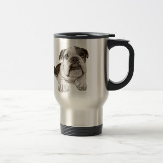 A Brindle Bulldog Puppy Travel Mug