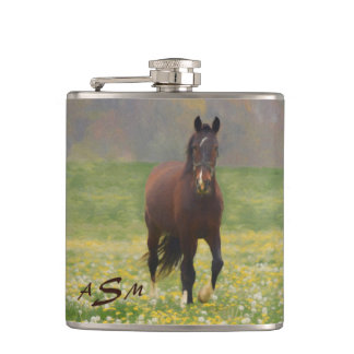 A Brown Horse in a Field with Dandelions Hip Flask
