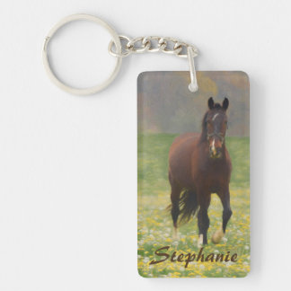 A Brown Horse in a Field with Dandelions Keychain
