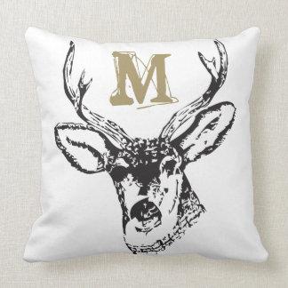A Buck & a Monogram Throw Pillow