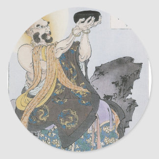 A Buddhist Monk Receives Seeds On a Moonlit Night Classic Round Sticker