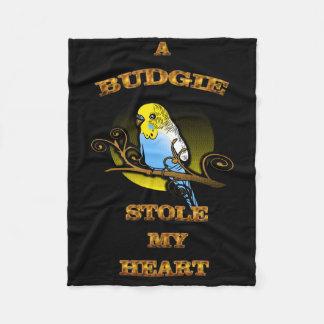 A Budgie Stole My Heart Fleece Blanket
