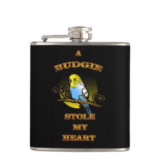 A Budgie Stole My Heart Hip Flask