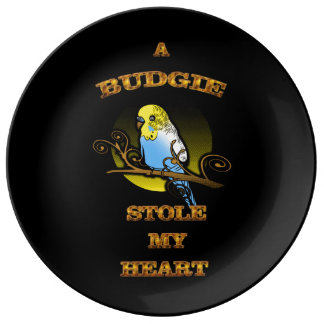 A Budgie Stole My Heart Plate