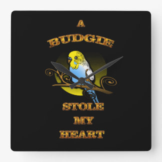 A Budgie Stole My Heart Square Wall Clock