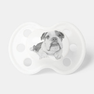 A Bulldog Puppy Drawing Baby Pacifier