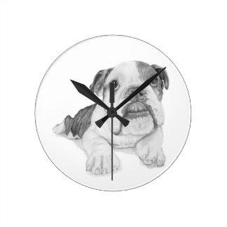 A Bulldog Puppy Drawing Wallclocks