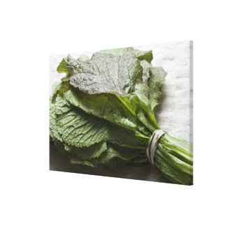 A bunch of fresh mustard greens, from a farmer's canvas print