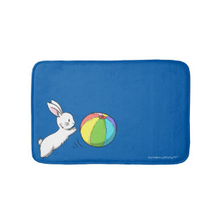 A bunny and a ball bath mat