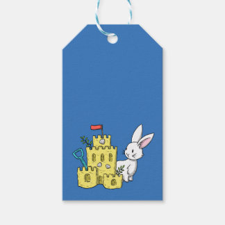 A bunny and a sandcastle pack of gift tags