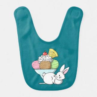 A bunny and an ice cream baby bib
