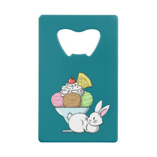A bunny and an ice cream credit card bottle opener