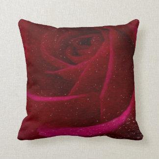 A Burgundy Rose in Snow Throw Pillows