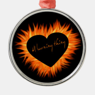 A Burning Thing Fire Heart Silver-Colored Round Ornament