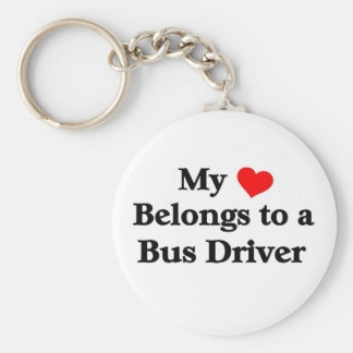 A bus driver has my heart basic round button keychain