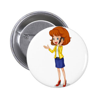 A businesswoman using a cellphone 2 inch round button