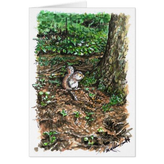 A busy squirrel card