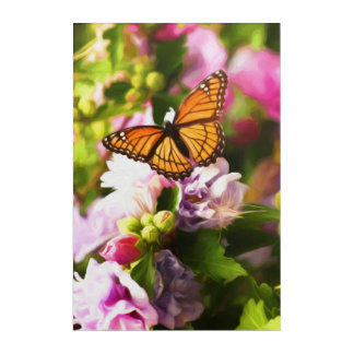 A Butterfly on Pink & Purple Flowers Acrylic Print