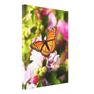 A Butterfly on Pink & Purple Flowers Canvas Print