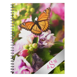 A Butterfly on Pink & Purple Flowers Notebook