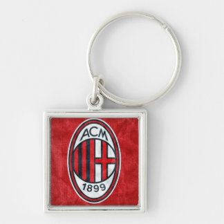 A.C. Milan Silver-Colored Square Keychain