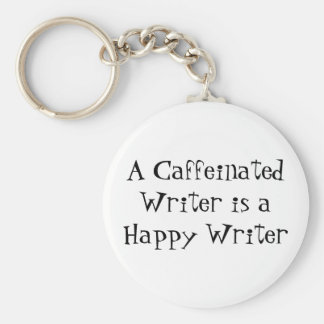 A Caffeinated Writer is a Happy Writer Basic Round Button Keychain