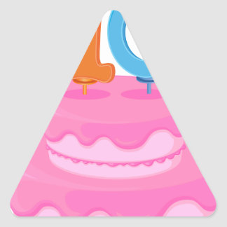 a cake with candle triangle sticker
