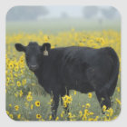 A calf amid the sunflowers of the Nebraska Square Sticker