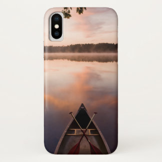 A canoe rests on the shore of Pawtuckaway Lake iPhone X Case