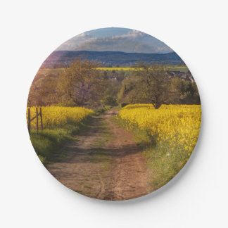 A canola field in spring 7 inch paper plate