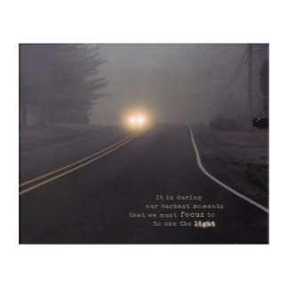 A Car on a Road with Headlights During the Fog Acrylic Wall Art