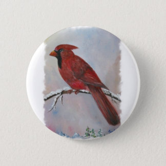 A Cardinal for Christmas 2 Inch Round Button