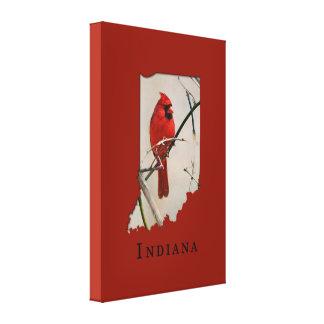 A Cardinal Inside the Shape of Indiana Canvas Print